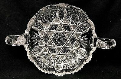 Antique Abp American Brilliant Heavy Thick Cut Glass Nappy Dish Handled