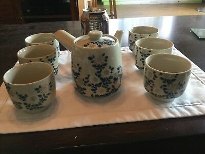 Japanese TEA POT & 6 cups SIGNED BY TAIZAN? Marked