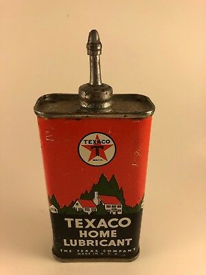 Vintage Texaco Home Lubricant Oil Can - 4 Fluid Ounces Metal Advertising Can
