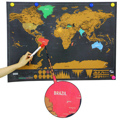 Deluxe Travel World Map Edition Scratch Off Poster Personalized Journal Log Gift