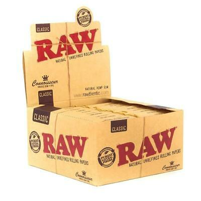 Raw Classic Connoisseur King Size Slim With Tips Rolling Paper Full Box Of 24.