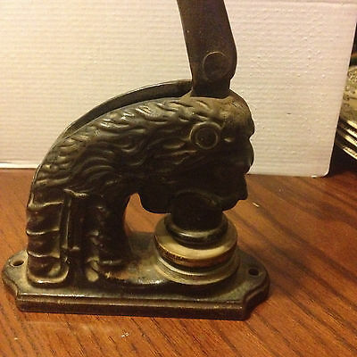 Antique Cast Iron Lion Head Figure Stamp Notary Seal