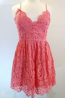 b6500413125f NWT$228 NBD Give It Up Lace Dress M Coral Fit Flare Shoestring Strap Mini  Dress