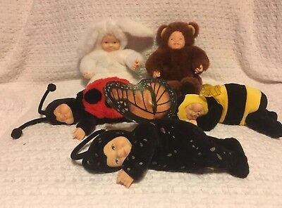 Anne Geddes Lot Of 5 Cute Doll's, Ladybug, Butterfly ,bumble Bee, Bear, Rabbit