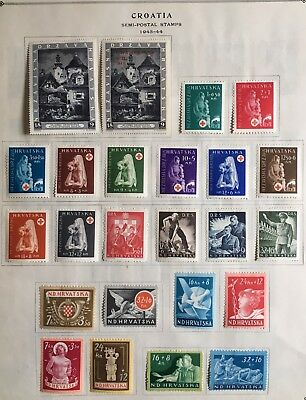 Croatia Stamp WWII Complete 1943-44 Page Mint HOG V-XF Collection W3-59