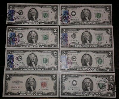 $2 Note Lot 1953 1976 Postmarked Cache Red Seal