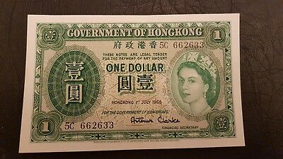 HONG KONG ONE DOLLAR, 1st July 1958, Serial # 5C 662633