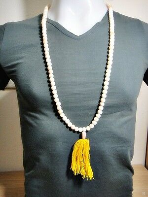6849-Thai Amulet Necklace Sacred Buddha Relic Stone 108 Bead Pearl Color