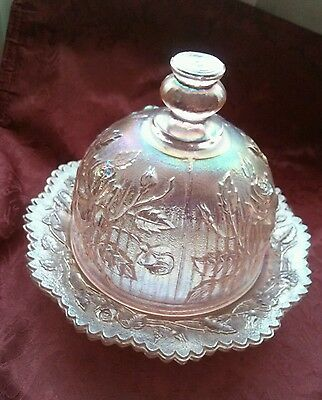Beautiful Lenox Imperial Glass Iridized Pink Rainbow Carnival Glass Butter Bell