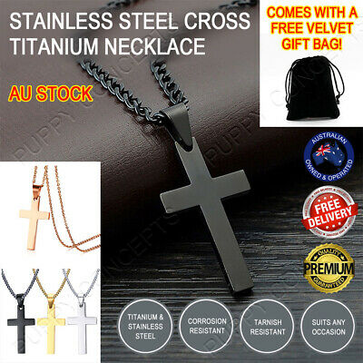 Titanium Stainless Steel Cross Pendant Men Women Chain Necklace Religious Colour
