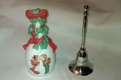 Avon Collectable Porcelain Christmas and a India made Silver plated Brass Bell