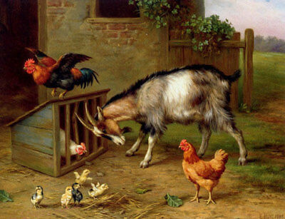 ZWPT684 strong Goat with rooster chickren hand painted art oil painting canvas