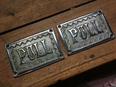 2 Vintage Brass / Chrome Pull Signs 100% Original