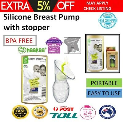 Haakaa Breast Pump with Stopper 100% BPA FREE Breastfeeding Silicone Milk Pump