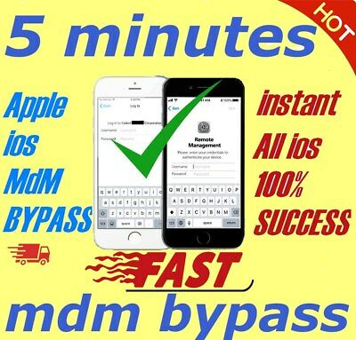 APPLE MDM BYPASS IPHONE / IPAD / IPOD  ALL iOS 100% SUPPORTED [INSTANT]