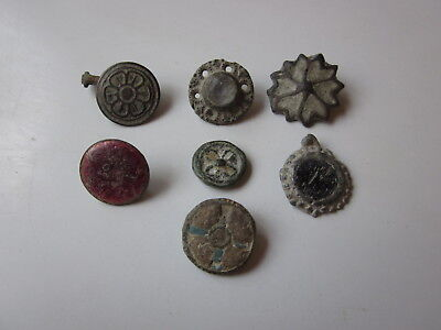 Lot of 7 ancient authentic Roman / Byzantine Bronze buttons / amulets