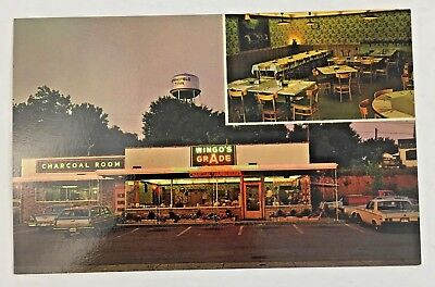 Vintage Postcard Wingo's Rain-Bo Grill and Charcoal Room Springfield Tennessee