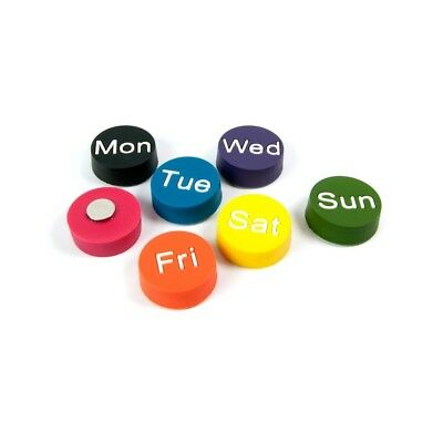 Assorted Circular Office Magnets - Weekdays (1 set of 7)