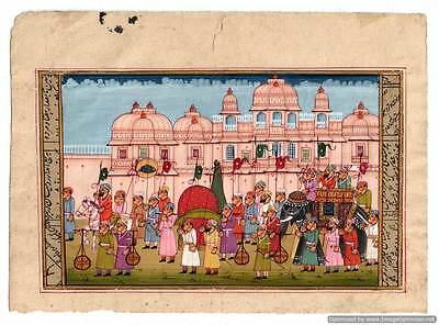 Indian Miniature Painting Mughal Maharaja Chariot Procession Hand Painted Decor