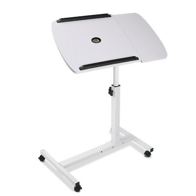 Adjustable Computer Stand Rotating Mobile Laptop Desk with Cooler Fan White