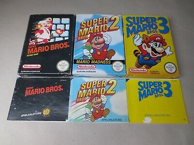 ✪ Super Mario Bros 1 + 2 + 3 NES PAL nur OVP + Anl. Boxes + Manuals only ✪