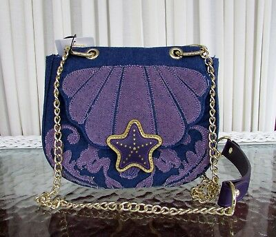 447bd65868b Disney Loungefly Ariel Little Mermaid Denim Saddle Crossbody Bag Purse NWT