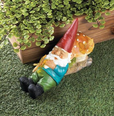 SLEEPY GNOME Solar Powered Garden Statue Outdoor Decor Lighted Butterfly - GARDEN STATUE SLEEPY Gnome DISNEY Outdoor Patio Yard Lawn Plants