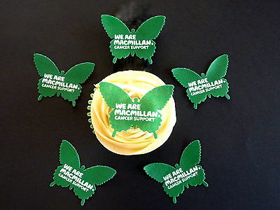 15 Pre-Cut Macmillan Cancer Grn Butterflies Edible Cake Rice Wafer Paper Toppers