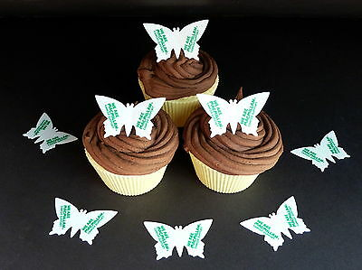 30 Pre-Cut Macmillan Cancer Butterflies Edible Cake Rice Wafer Paper Toppers
