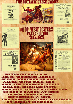 James Gang Posters Outlaw  Western Bank Jesse James Reward Old West Wanted