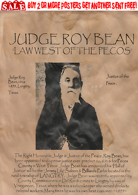 Old West Wanted Poster Outlaw Reward Judge Roy Bean Saloon Langtry Law Pecos
