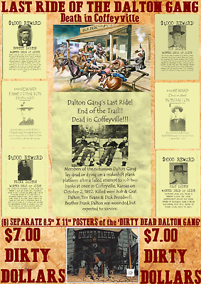Dalton Gang Old West Wanted Posters Reward Outlaw Western Bank