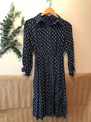Vintage Collared Blue Whale Pattern Dress- Size 8-10