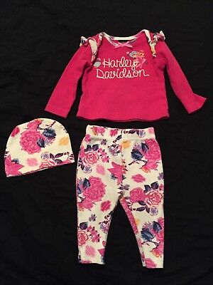Harley Davidson 3 Piece Pink Floral Baby Girl Outfit Size 3-6 Months EUC