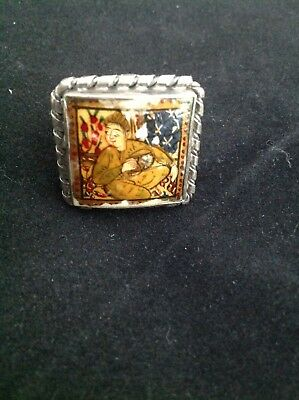 Hand Painted Ring-Persian Arab Middle Eastern Islamic Painting