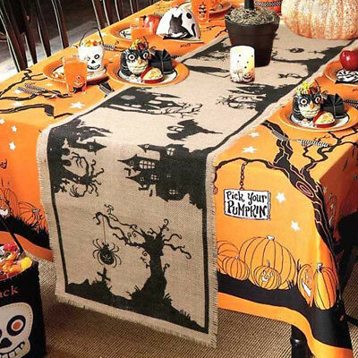 OurWarm 14x74 inch Halloween Burlap Table Runners Haunted House Table 36x188cm