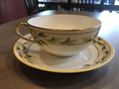 Antique Hand Painted Nippon Teacup and Saucer Circa 1911 Flowers Leaves Gold
