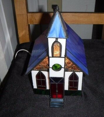 Stained Glass Light Up Town Church Holiday Creations  USED