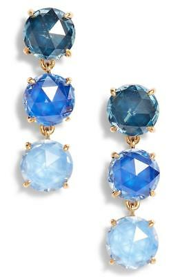 New Kate Spade NY Bright Ideas Triple Stone Linear Drop Earrings WBRUF821 Blue