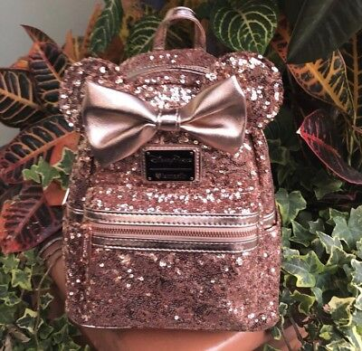 Disney Parks Rose Gold Minnie Mouse Sequined Mini Backpack Loungefly NWT