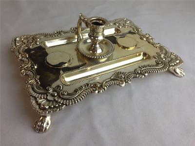 * Vintage Ornate Silver Plate? Inkwell Flourish Trim 8-inch x 6-inch Claw Footed