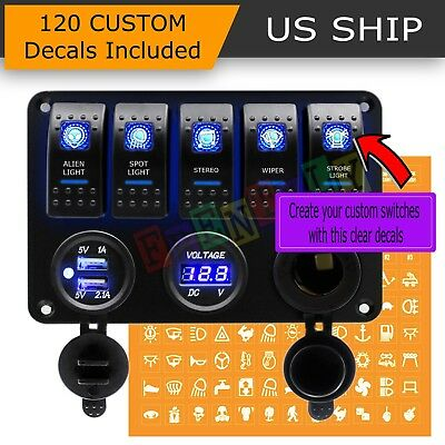 5 Gang ON-OFF Toggle Switch Panel 2USB 12V for Car Boat Marine RV Truck Camper