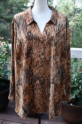 Catherines Womens Plus Size Blouse Brown Black Animal Print Button