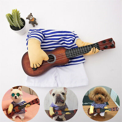 Pet Dog Halloween Costumes Guitar Player Coat Clothes Party Cosplay Christmas