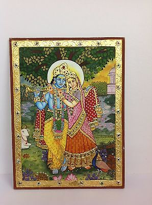 New Year Tanjore Handmade Lord Radha Kishan ji Painting Wall Decor Art