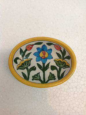 Vintage Hand Painted Blue Pottery Decorative Floral Design Soap or Trinket Dish