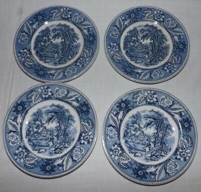"""(Set of 4) Wood & Sons Blue and White WOODLAND 5 7/8"""" BREAD PLATES (England)"""