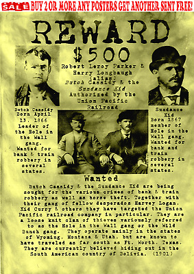 Old West Wanted Posters Outlaw Butch Sundance Bank Train Pinkerton Rob Reward