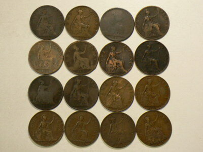 Great Britain 1863 to 1947 Penny Lot of 16 Coins #G9342