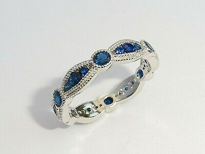 Ladies Art Deco Style 925 Sterling Silver Blue & White Sapphire Eternity Ring